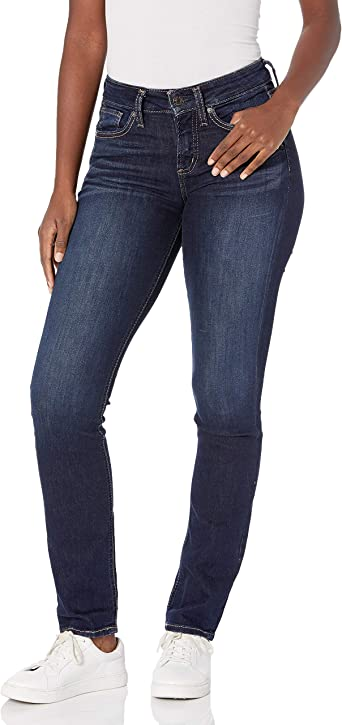 Silver Jeans Co Womens Plus Size Suki Curvy-Fit Mid-Rise Straight Dark Wash Jean