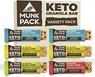 product image for Munk Pack Keto Granola Bar, 1g Sugar, 2g Net Carbs, Keto Snacks, Chewy & Grain Free, Plant Based, Gluten Free, Soy Free, No Sugar Added (Variety 6 Pack)