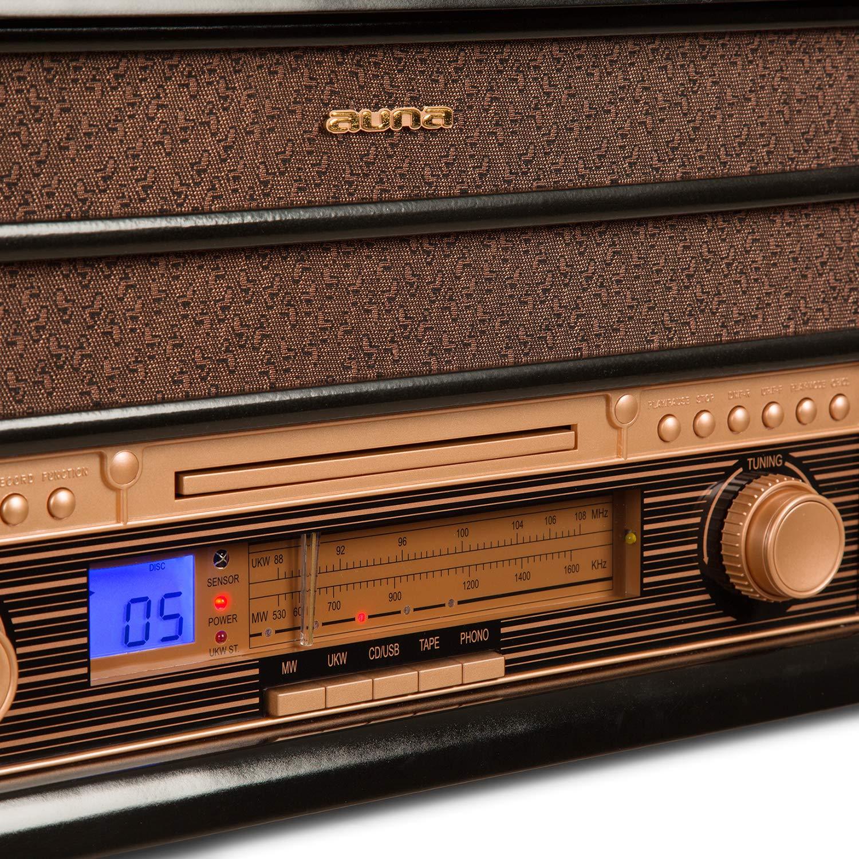 auna Belle Epoque 1908 - Equipo de música estéreo , Tocadiscos , Reproductor de CD , MP3 , Puerto USB , Casettes , Radio FM/Am , Altavoces , Grabación ...