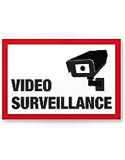 Video Surveillance Panneau (Blanc/rouge 30x 20cm)–Attention/Vorsicht Video Surveillance Panneau–Panneau d'avertissement/Plaque signalétique vidéo via dessinée–Env./avertissement