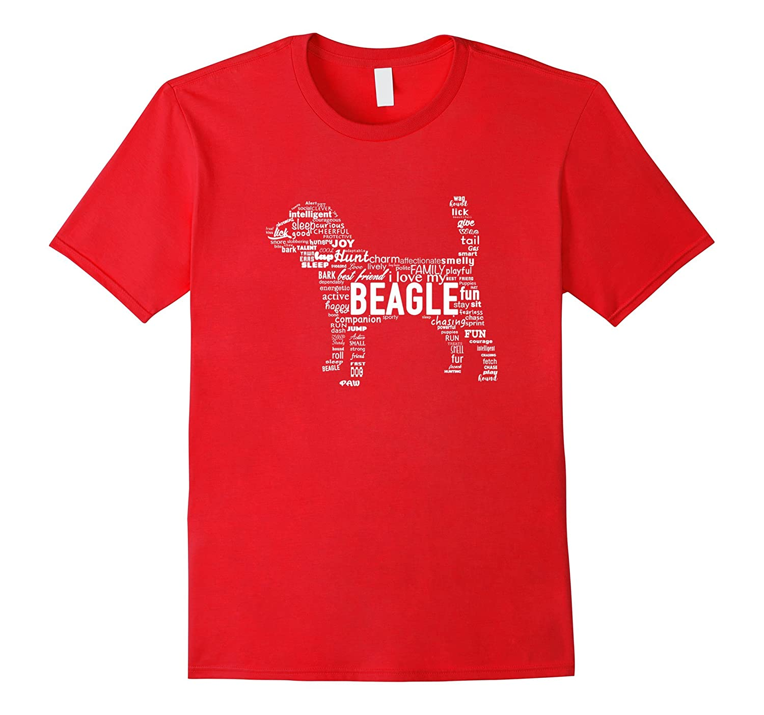 Beagle Words T-Shirt Dog Shape With Words-CL