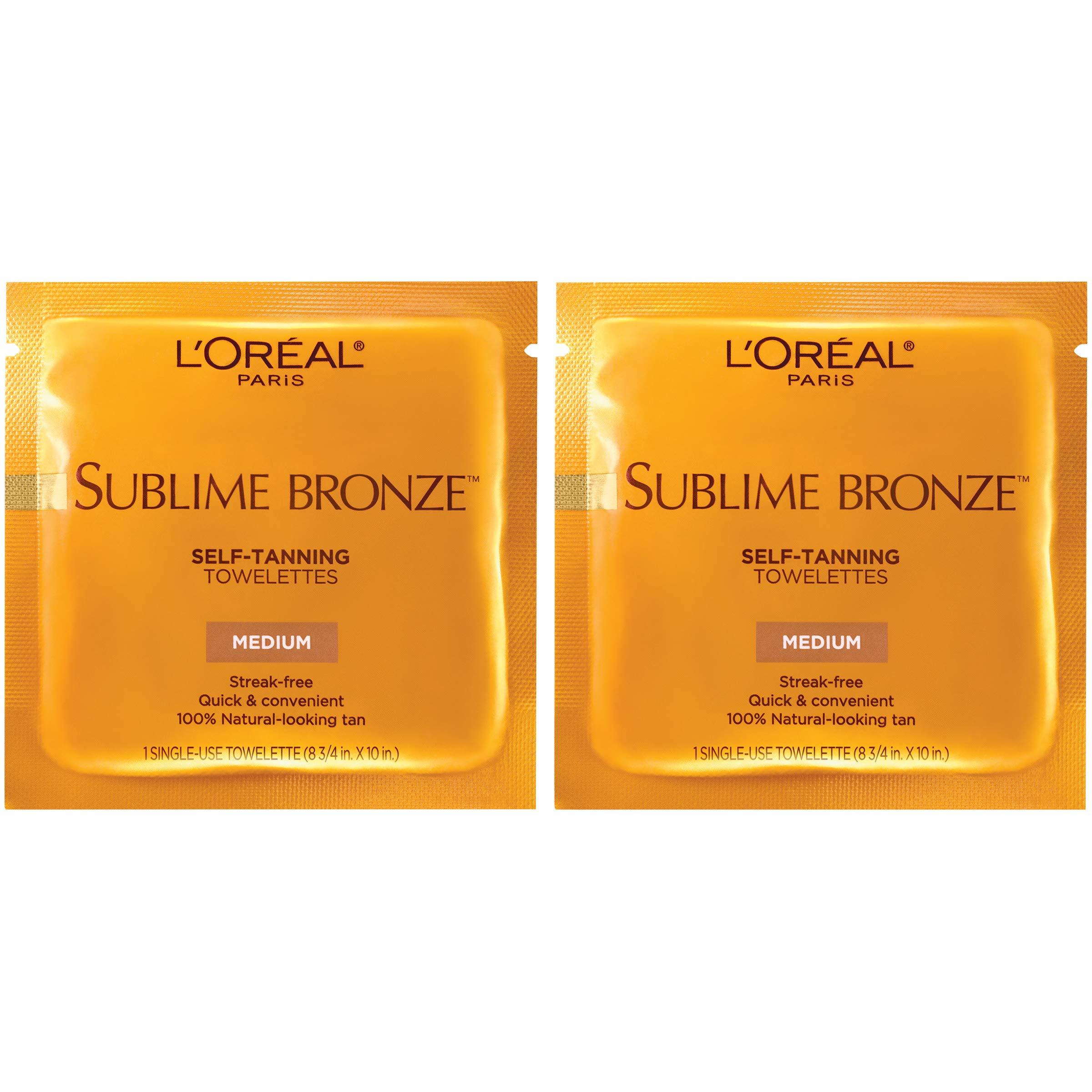 L'Oreal Paris Skin Care Sublime Bronze Self-Tanning Towelettes, 12 Count