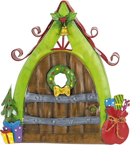 Fountasia - Adorno de jardín de madera con diseño de elfo y hada de Navidad con saco de metal, ideal para jardines de hadas: Amazon.es: Hogar