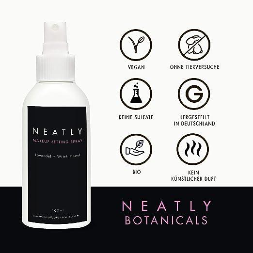 Spray de maquillaje Neatly   Maquillaje natural 100 ml   Spray de fijación para el cuidado de la piel   Aceite de lavanda y avellana de bruja   Alternativa ...