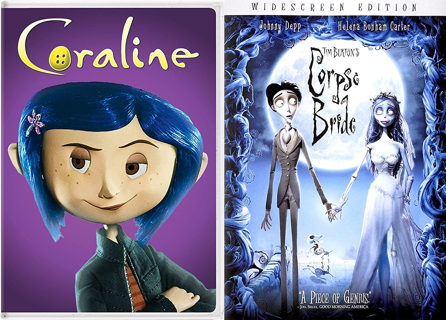 Amazon Com Tim Burton S Corpse Bride Coraline Dvd Animated Film Bundle 2 Pack Movies Tv