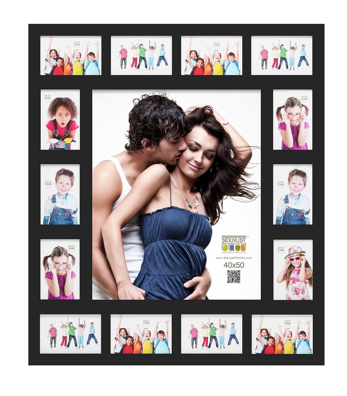Deknudt Frames S66XK2 Bilderrahmen 40x50 Galerierahmen Schwarz, 14 Ausschnitte 10x15cm+1x(40x50) Holz Fotokader