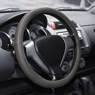 Elantrip Leather Steering Wheel Cover 14 1/2 inch to 15 inch Universal Anti Slip Odorless Cool for Car Truck SUV Jeep Gray: Automotive