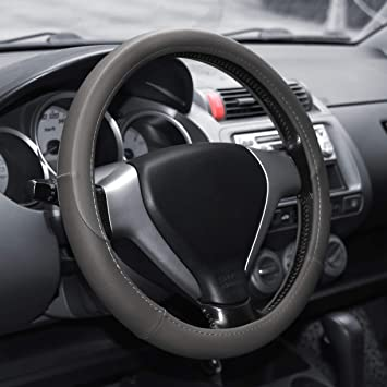 Stitching Anti Slip Odorless for Car Truck SUV Grey Elantrip Steering Wheel Cover Leather 14 1//2 inch to 15 inch Universal