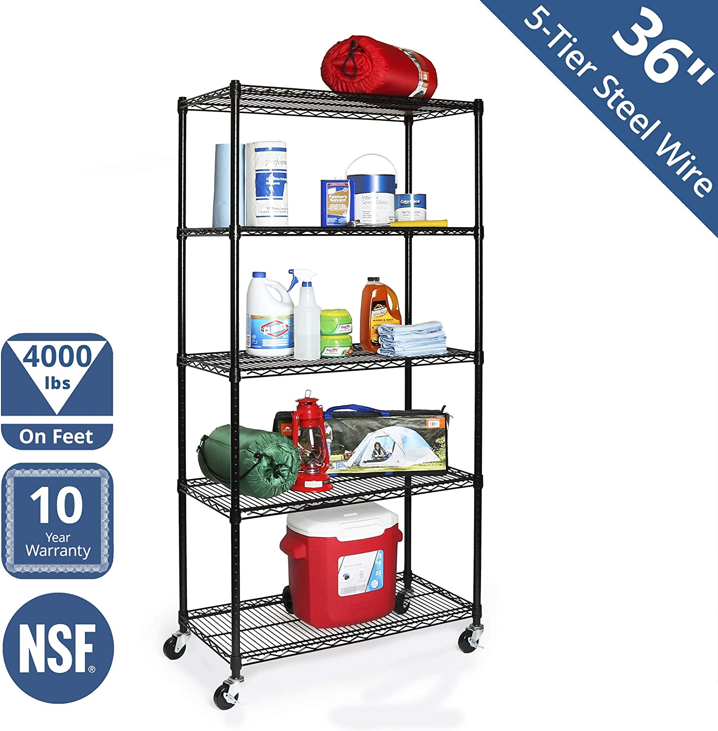 "Seville Classics UltraDurable Commercial-Grade 5-Tier NSF-Certified Steel Wire Shelving with Wheels, 36"" W x 18"" D, Black"