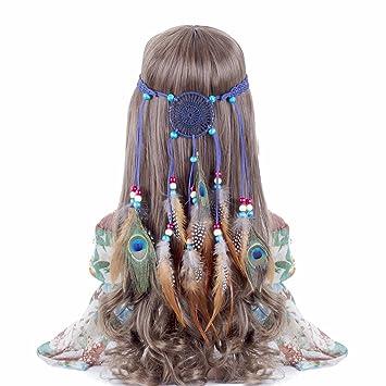 Amazon.com   Hippie Headband Feather Dreamcatcher Headdress - AWAYTR New  Fashion Boho Headwear Native American Headpiece Hippie Clothes Peacock Feather  Hair ... 6a821e8b6d3b