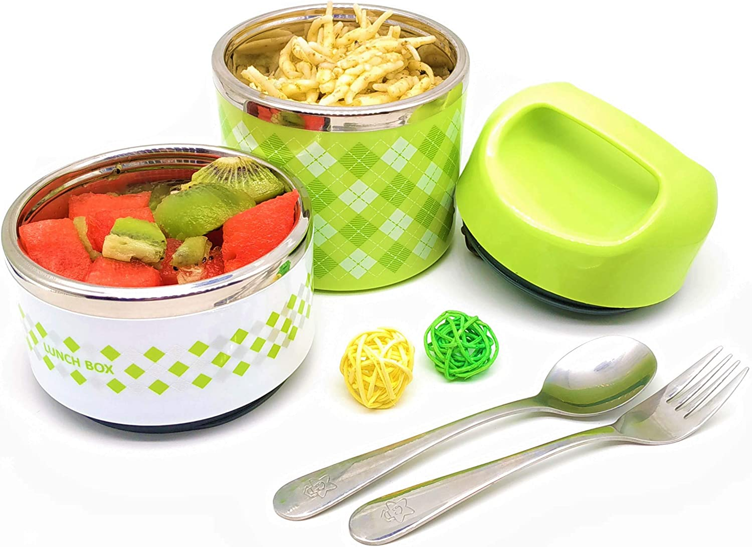 2 Tiers thermal Lunch Box 950ml food container with Handle, Stainless Steel Insulated Bento Box, Best for Keep SOLID food hot for 3 hour. Best for work,school,travel.(Green)