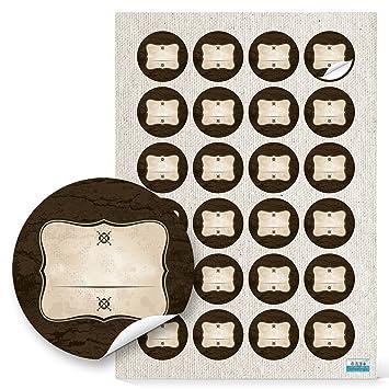 48 Stück Runde Haushaltsetiketten Blanko Aufkleber Etiketten Beschriften 4 Cm Rechteckig Beige Braun Natur Vintage Nostalgie Selbstklebende Sticker