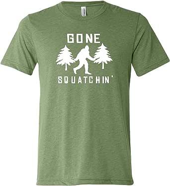 Large Green Adult Gone Squatchin Gone Squatching Bigfoot Sasquatch Triblend Short Sleeve T-Shirt