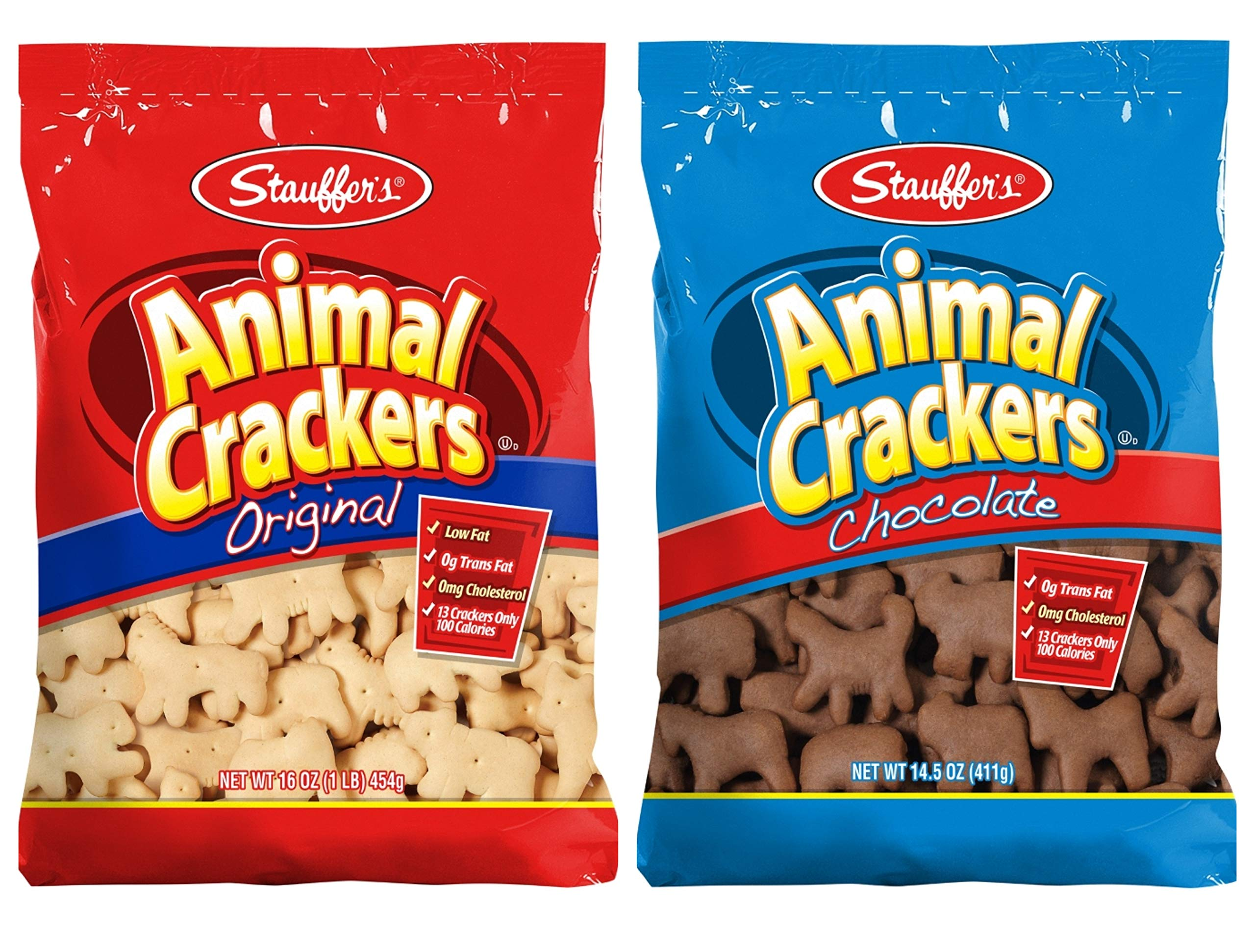 Stauffer's Animal Crackers Snack Cookies: Chocolate and Original [1 Bag of each] by Stauffer's