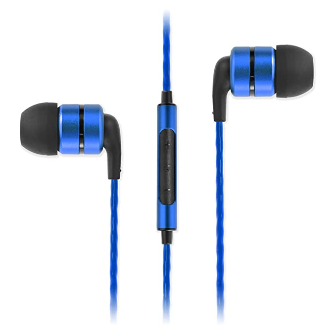 SoundMagic E80C in Ear Isolating Earphones with Microphone (Black/Blue) Headsets at amazon