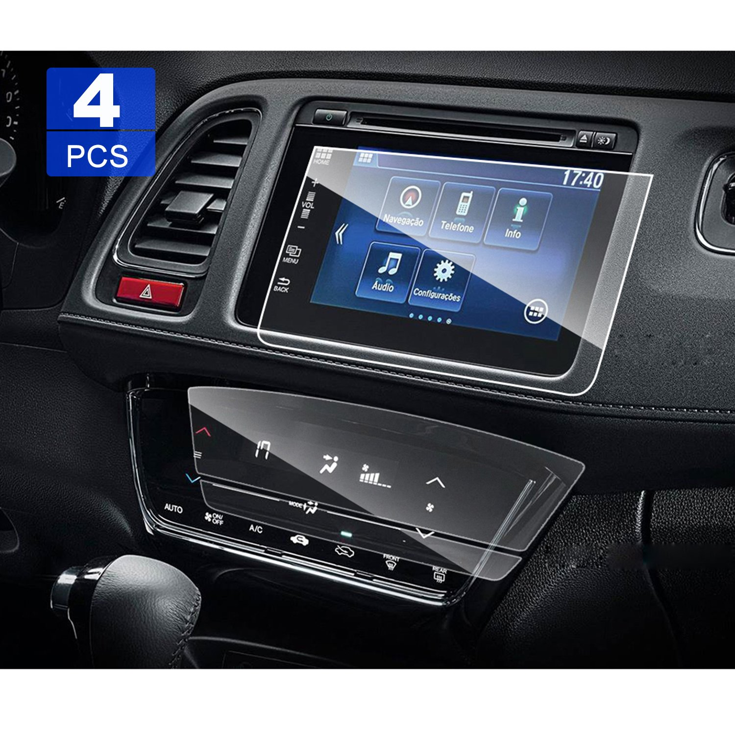 4 PCS LFOTPP 2016 2017 2018 Honda HR-V EX EXL ANTI-GLARE PET Screen Protector, 7 Inch [ 2 PCS Car Navigation + 2 PCS Air Conditioning Screen Protector ] for Center Touch Climate Display
