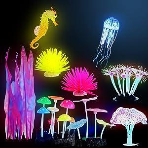 9 Pieces Glow Aquarium Fish Tank Ornament Glowing Coral Aquarium Decor Silicone Yellow Rose Red Anemone Ornament Artificial Simulation Coral Jellyfish and Seahorse Mushroom Plant Decoration Landscape