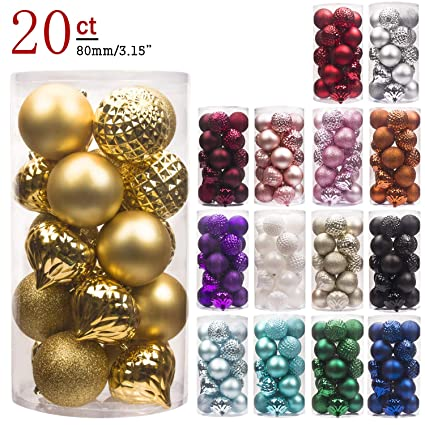 ki store 20ct christmas ball ornaments shatterproof christmas decorations large tree balls for holiday wedding party - Large Christmas Ball Ornaments