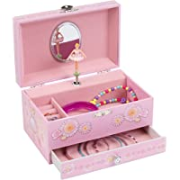 (Light Pink) - JewelKeeper Light Pink Ballerina Musical Jewellery Box with Pullout Drawer, Jewel Storage Orgnizer Case, Swan Lake Tune