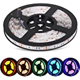 Adoric LED strip lights, 16.4ft 5m dimmable led strips waterproof SMD5050 RGB 300 LEDs Flexible LED Rope Lights with 44Key Remote+12V 5A Power Supply+IR Control Box