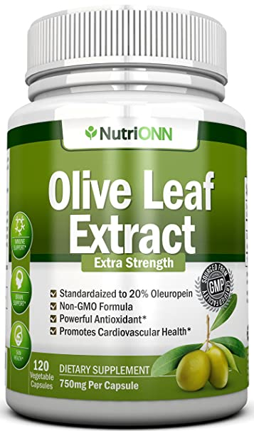 Olive Leaf Extract - 750 Mg - 120 Capsules - Extra Strength - 20%  Oleuropein - Non-GMO Formula - Highest