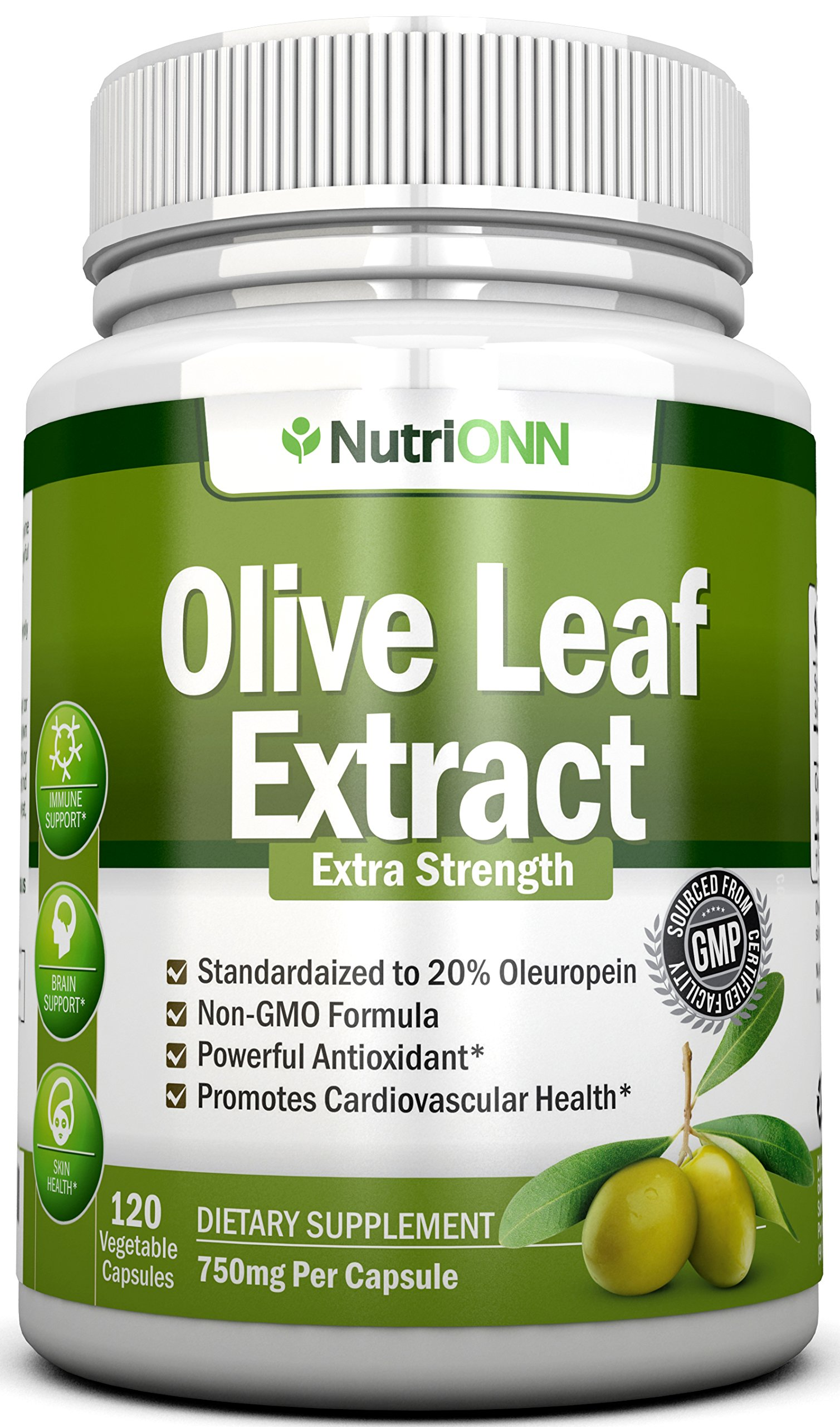 Olive Leaf Extract - 750 Mg - 120 Capsules - Extra Strength - 20% Oleuropein - Non-GMO Formula - Highest Quality From Pure Olive Leaves - Powerful Antioxidant - Great for Heart, Skin and Immune System