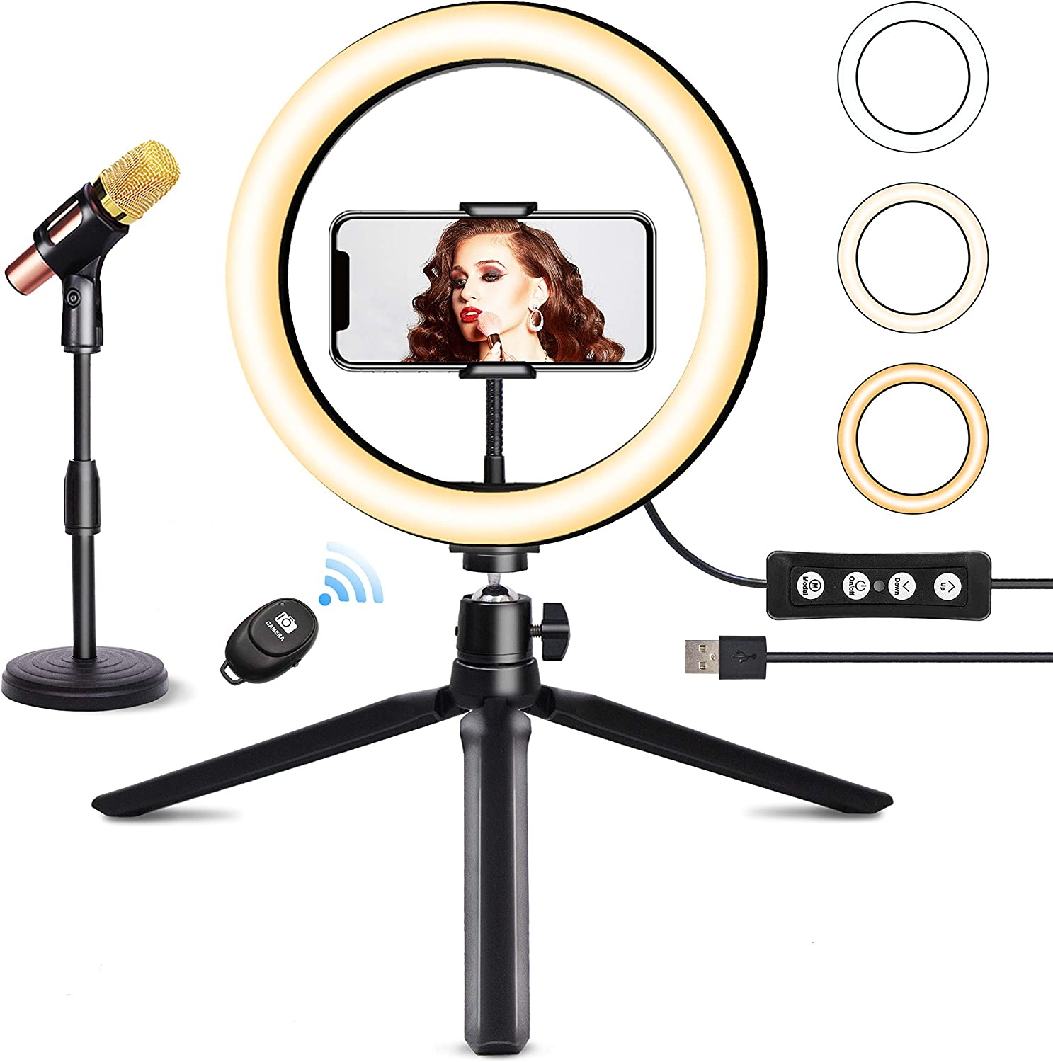 "10"" Ring Light with MIC Stand & Tripod JOGDRC Cellphone Holder for Live Streaming Makeup Photography, Mini LED Camera Ringlight for YouTube Video/Photography Compatible with iPhone iOS Android"