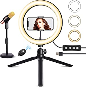 """10"""" Ring Light with MIC Stand & Tripod JOGDRC Cellphone Holder for Live Streaming Makeup Photography, Mini LED Camera Ringlight for YouTube Video/Photography Compatible with iPhone iOS Android"""
