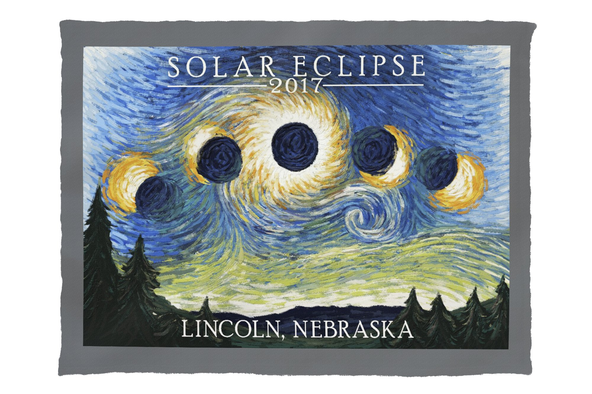 Lincoln, Nebraska - Solar Eclipse 2017 - Starry Night (60x80 Poly Fleece Thick Plush Blanket)