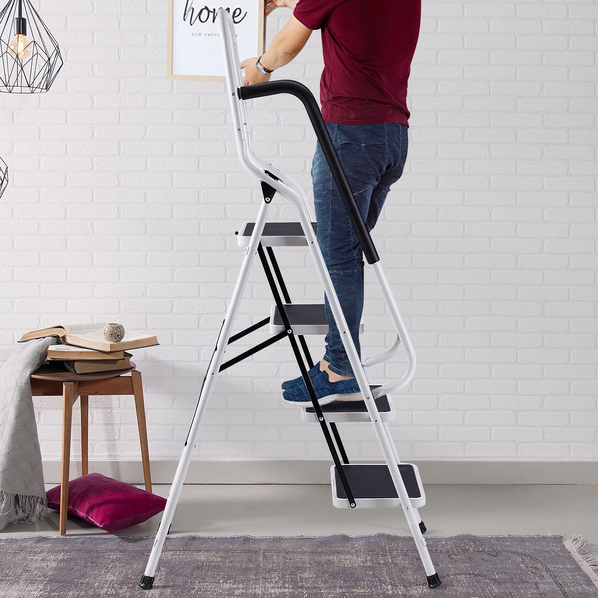 Giantex 2 in 1 Non-Slip Step Ladder Folding Stool w/Handrails and Tool Pouch Caddy (4 Step Ladder) by Giantex (Image #3)