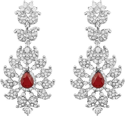 Faux Ruby Rhinestone Dangle Earrings