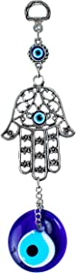 Demiwares Evil Eye Protection Charm, Hamsa Fatima Holy Hand with Evil Eye Glass, Metal Wall Hanging Home Decor for Good Luck and Blessings, Handmade Turkish Ornament