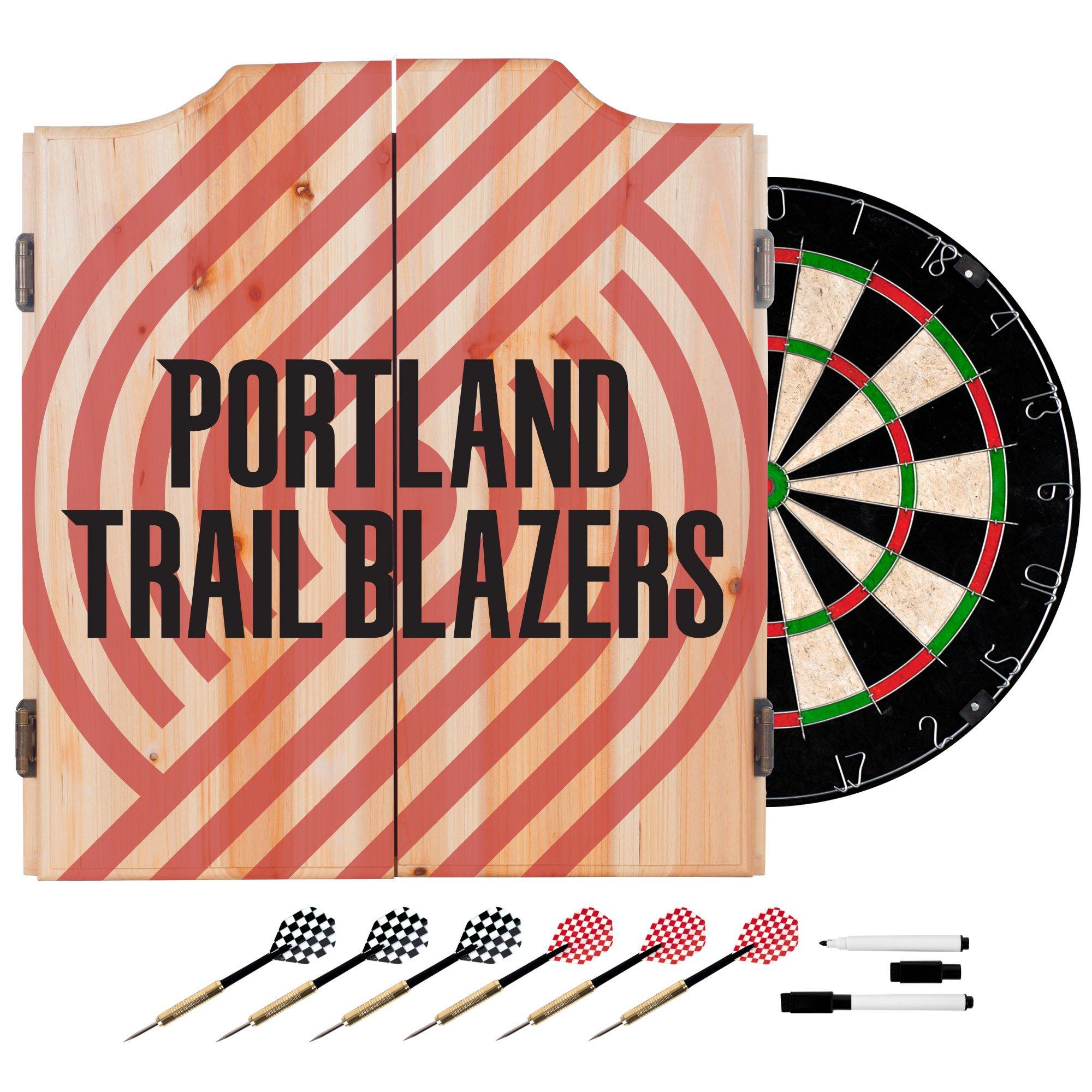 Trademark Gameroom NBA7010-PTB2 NBA Dart Cabinet Set with Darts & Board - Fade - Portland Trailblazers