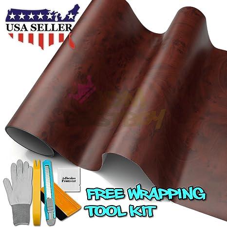 Kit de herramienta), color madera de bubinga y textura grano vinilo adhesivo coche muebles