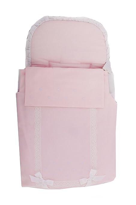 Saco Capazo + Colcha Danielstore Universal ..Carrito Bebé Color Rosa