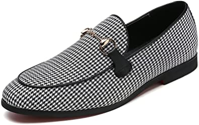 4bd4faf7cc7b4 Men's Modern Plaid Driving Shoes Tuxedo Slip On Loafers British Round Toe  Moccasin