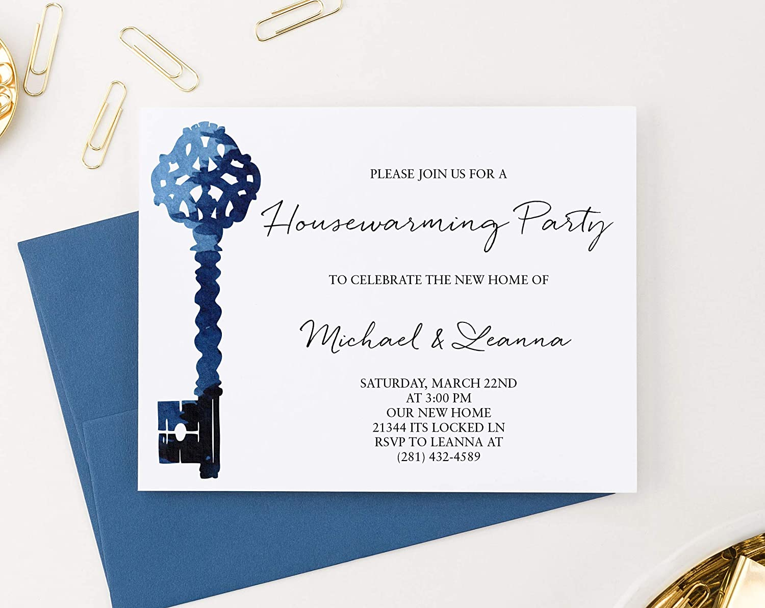 Modern Housewarming Invitation Cards Watercolor Housewarming Party Invites Blue Antique Key Housewarming Party Invitations with Envelopes Your choice of Quantity and Envelope Color