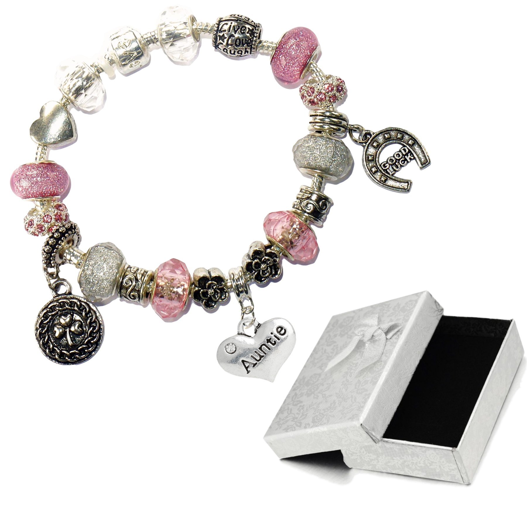 Charm Buddy Auntie Aunt Pink Silver Crystal Good Luck Pandora Style Bracelet With Charms Gift Box