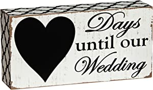 "Cypress Home Beautiful,""Days Until Our Wedding"" Rustic Countdown Wooden Chalkboard Sign - 8""W x 2""D x 4""H"