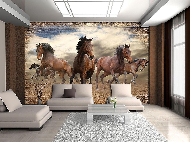 Vlies Fototapete XXL Tapete Poster 055332FW Pferde im Galopp auf Holzplanken Abs