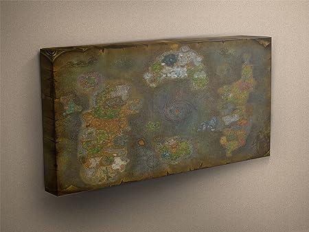 World Of Warcraft World Map 2 Stretched & Mounted Canvas Art Print ...