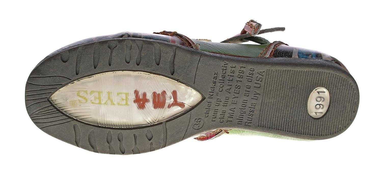 TMA Leder Damen Comfort Ballerinas Echtleder Muster variieren Comfort Damen Schuhe 5085 Sandalen Bunt Gr. 36-42 Grün 42220f
