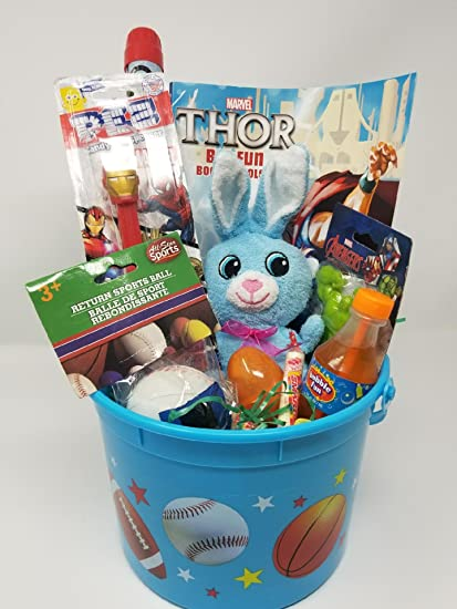 Amazon happy easter basket giant kids toddlers gift children happy easter basket giant kids toddlers gift children party action figure pack pre made eggs goodies negle Gallery