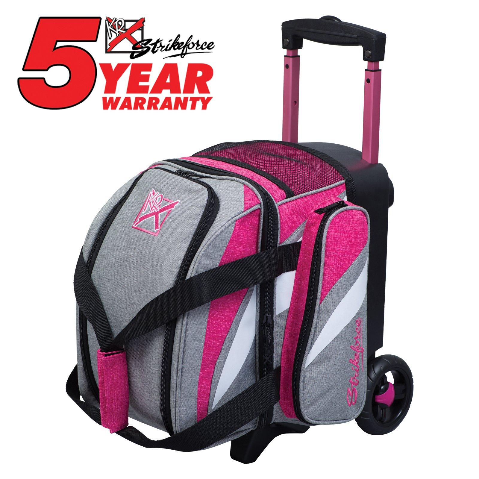 KR Strikeforce Bowling Cruiser Single Bowling Ball Roller Bag (Stone/Pink) by KR Strikeforce Bowling