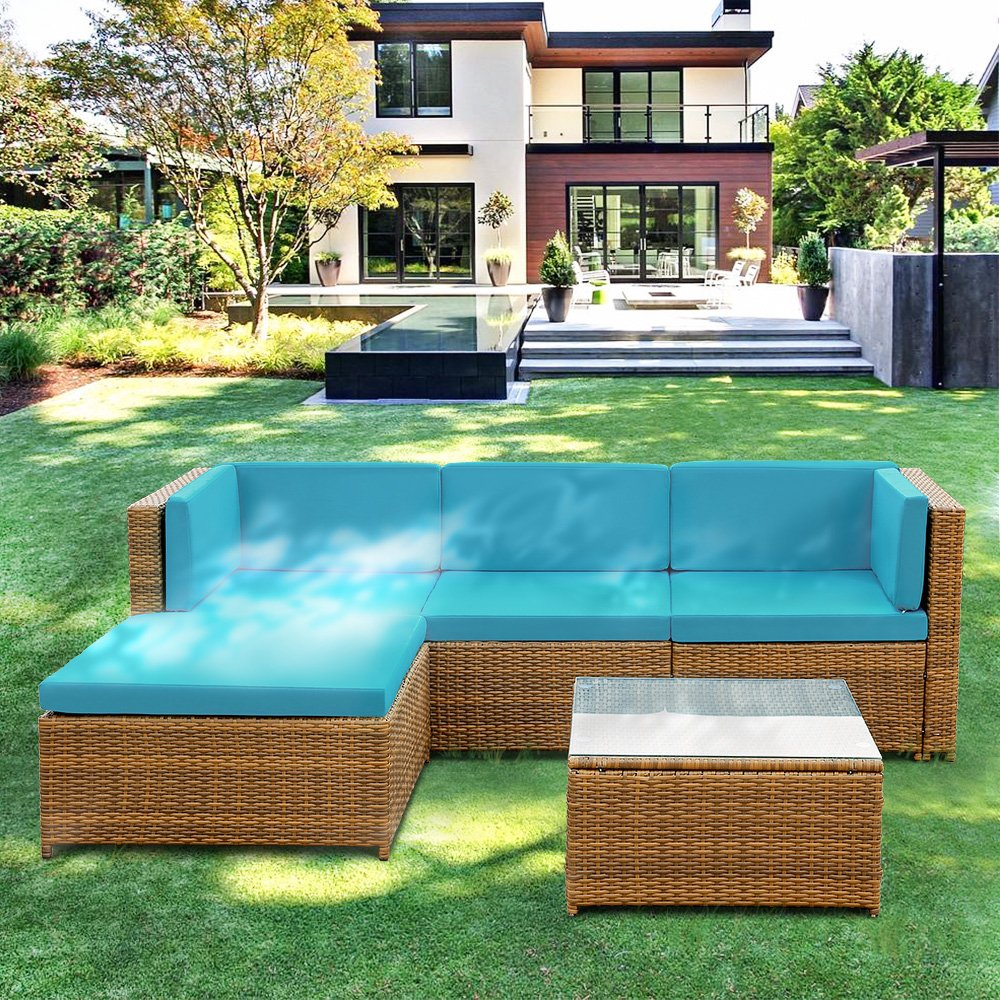 IKAYAA 5 Piece Outdoor Wicker Sofa Set Patio Garden PE Rattan Furniture with Soft Cushions (Blue)