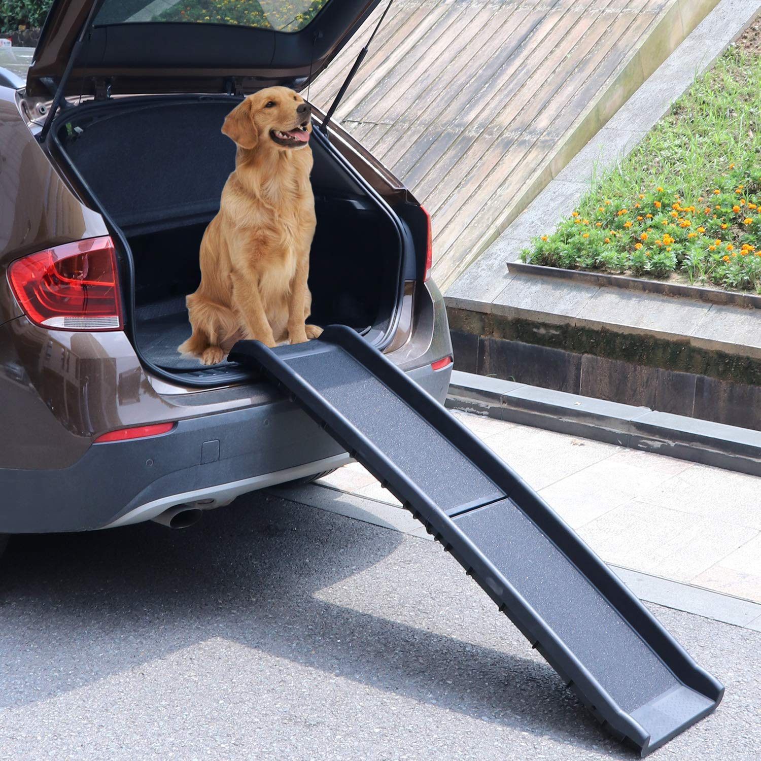 Atoz Create Bi-Fold Pet Ramp for Large Dog Collapsible Portable Dog and Cat Ramp Support Up to 200lbs, 62 in, Great for Cars, Vans, SUVs, and Trucks(Black) by Atoz Create