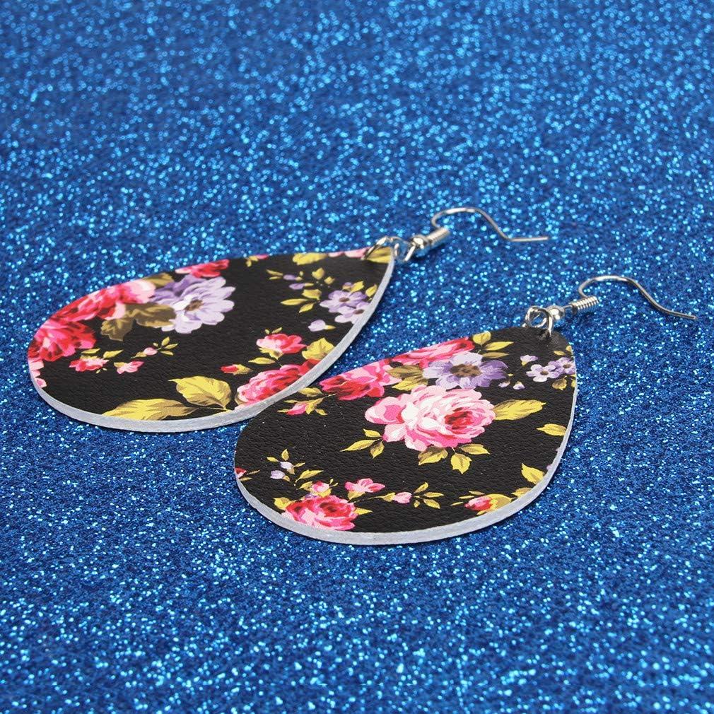 Faliya Boucles doreilles en forme de larme pour les femmes Boucles doreilles en cuir imprim/é fleur PU Boucles doreilles en similicuir l/éger,bleu
