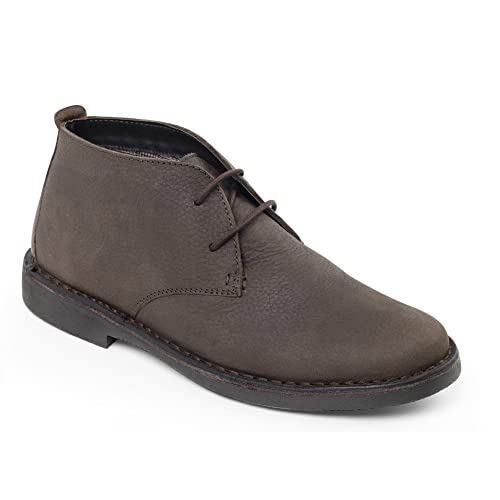 Padders JOE Mens Leather Wide Fit Desert Boots Brown UK 6