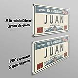 Megadecor Placa de Matrícula Decorativa de Aluminio o PVC Impreso de Estilo Vintage Americano Personalizado con Nombre 100% Personalizable 8 Modelos (Indiana, PVC 5 mm): Amazon.es: Hogar