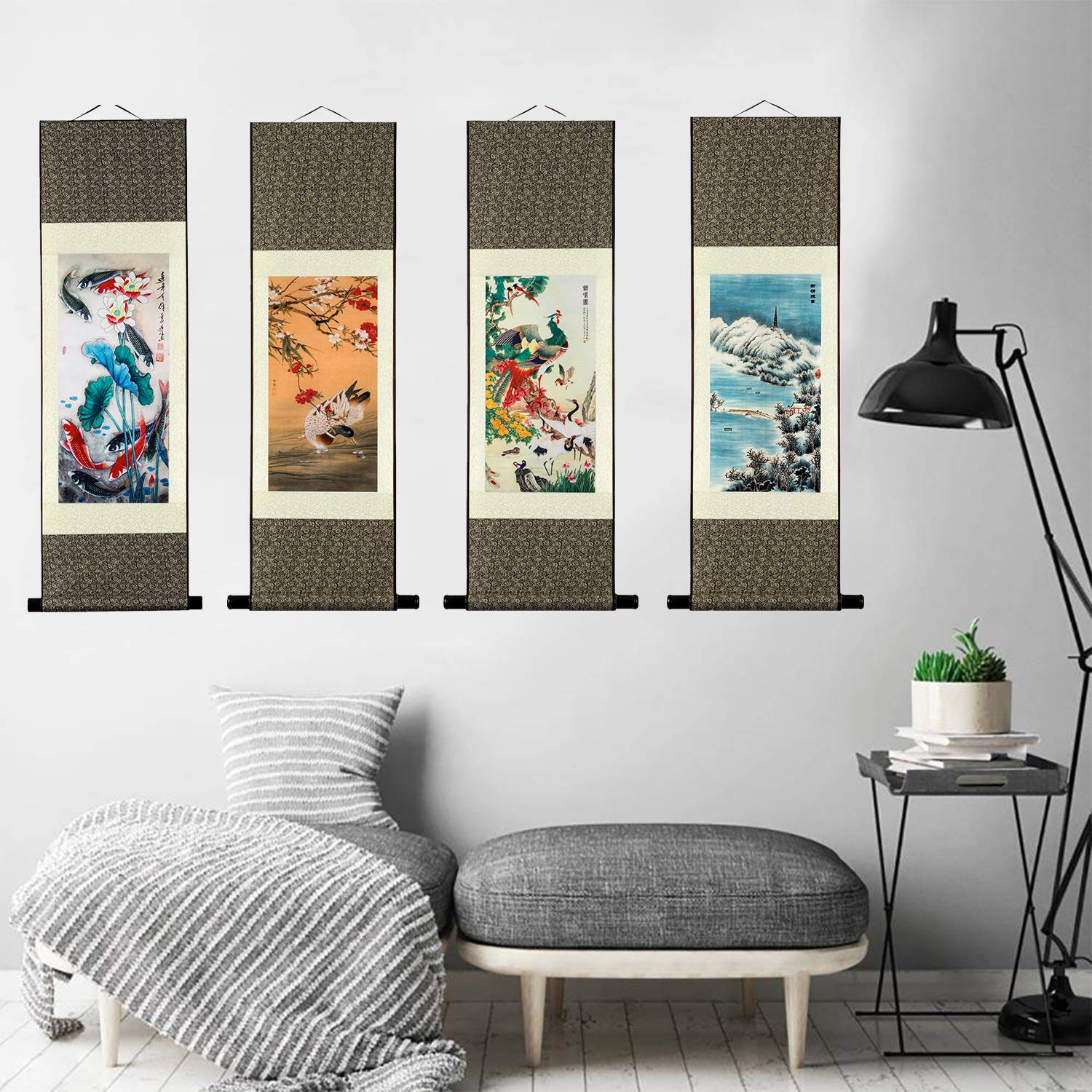 UNIQUELOVER Asian Silk Scroll /& Home Decorate Chinese Dragon Picture Scroll /& Wall Scroll Hanging Artwork Painting